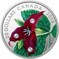 Канада 20 долларов 2014 Цветок Триллиум Прямостоячий Капля Дождя (Canada 20C$ 2014 Flower Trillium Raindrop Swarovski Silver Proof).Арт.000374548352/67