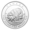 Канада 5 долларов 2015.Полярный медведь с детенышем.