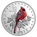 Канада 10 долларов 2015.Красный Кардинал - Красочные певчие птицы Канады.