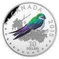 Канада 10 долларов 2015.Фиолетово-зеленая Американская Ласточка - Красочные певчие птицы Канады.