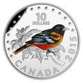 Канада 10 долларов 2015.Иволга Балтимора - Красочные певчие птицы Канады.