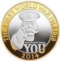 Великобритания 2 фунта 2014 100 лет Первой Мировой Войне Герберт Китченер (UK £2 2014 First World War Outbreak Kitchener Silver Proof Coin).Арт.000244248558\60