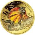 Ниуэ 100 долларов 2014 Плащеносная Ящерица Замечательные Рептилии (Niue $100 2014 Frilled Neck Lizard Remarkable Reptiles 1oz Gold Proof Coin).Арт.85