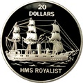 Тувалу 20 долларов 1993.Корабль Роялист (HMS ROYALIST).Арт.000119839906/60