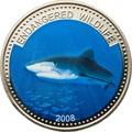Палау 1 доллар 2008.Тигровая акула (Tiger Shark) – Под угрозой исчезновения.Арт.60