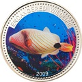 Палау 1 доллар 2009.Рыба Оранжевополосый балистап (Orange-lined Triggerfish) – Под угрозой исчезновения.Арт.60