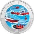 Канада 25 центов 2012.50 лет Канадской береговой охране.Корабли вертолет.(блистер).Арт.60