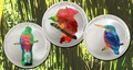 Конго 3x5 франков 2004.Птицы – Кетсаль (Quetzal) Райская птица (Bird of Paradise) Зимородок (Kingfisher) (призма).Арт.60