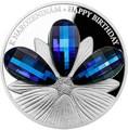 Ниуэ 5 долларов 2016.Цветок с днем рождения – Кристаллы на монетах.Арт.60