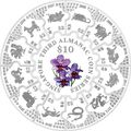 Сингапур 34 доллара 2016.Третий альманах - Лунный календарь.Орхидея (монета пазл).Арт.60