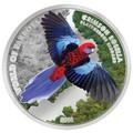 Острова Кука 5 долларов 2014 Красная Розелла – Мир попугаев 3D.Арт.000337648427/60