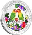 Ниуэ 2 доллара 2017.Любовь – Попугаи (сердце цирконий).Арт.60