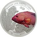 Палау 5 долларов 2016.Рыба Красный коралловый групер (Cephalopholis miniata) – Защита морской жизни.Арт.60