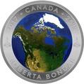 Канада 25 долларов 2016.Канада из Космоса (Выпуклая форма).Арт.60