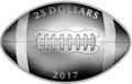 Канада 25 долларов 2017.Канадский футбол – Мяч (Выпуклая форма).Арт.60