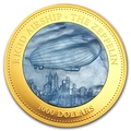 Острова Кука 1000 долларов 2013 Дирижабль Цеппелин Перламутр (Cook Isl 1000$ 2013 Rigid Airship The Zeppelin Mother of Pearl 5Oz Gold Coin Proof).Арт.60