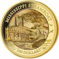 Острова Кука 200 долларов 2015 Пароход Миссисипи Перламутр (Cook Isl 200$ 2015 Mississippi Steamboat Mother of Pearl 5Oz Gold Coin Proof).Арт.60