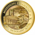 Острова Кука 200 долларов 2015 Пароход Миссисипи Перламутр (Cook Isl 200$ 2015 Mississippi Steamboat Mother of Pearl 5Oz Gold Coin Proof).Арт.60