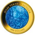 Острова Кука 1000 долларов 2014 Наутилус Жюль Верн Перламутр (Cook Isl 1000$ 2014 Nautilus Jules Verne Mother of Pearl 5Oz Gold Coin Proof).Арт.60