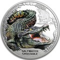 Тувалу 1 доллар 2018 Морской Крокодил Замечательные Рептилии (Tuvalu 1$ 2018 Remarkable Reptile Saltwater Crocodile 1 oz Silver Coin).Арт.000399654000/60