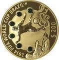 Фиджи 200 долларов 2013 Футбол ФИФА 2014 Чемпионат мира в Бразилии (Малахит).Арт.60