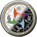 Ниуэ 25 долларов 2017 Мир Твоей Души Солнце Сова Бабочка.Арт.60