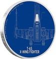 Ниуэ 2 доллара 2017 Звездные войны – Космический корабль Звёздный истребитель T-65 X-крыл (T-65 X-Wing Fighter).Арт.60
