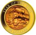 Соломоновы Острова 200 долларов 2018 Год Собаки Лунный Календарь Перламутр (Solomon Isl 200$ 2018 Year of the Rooster Mother of Pearl 5Oz Gold Coin Proof).Арт.60