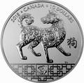 Канада 10 долларов 2018 Год Собаки – Лунный календарь серия (Canada 10$ 2018 Year of the Dog Lunar).Арт.000177654450/60