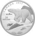 Канада 20 долларов 2017 Полярный медведь (Canada 20$ 2017 Paw Prints on the Edge Polar Bear).Арт.000463154463/60