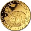 Сомали 1000 шиллингов 2017 Африканский Слон (Somali 1000 Shillings 2017 African Elephant 1 oz Gold).Арт.0079579/1155E/60