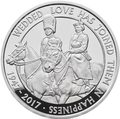 Великобритания 5 фунтов 2017 Платиновая Свадьба Королевы Елизаветы и Принца Филиппа (Platinum Wedding 2017 UK £5 Silver Proof).Арт.60