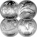 Южная Африка 85 центов 2017 Набор из 4-х монет Морские животные из серии Охрана морских территорий Пингвин Касатка Альбатрос Морской Слон (South Africa 85c 2017 Marine Areas 4 coin Prestige Set Penguin Killer Whale Albatros Seal).Арт.60