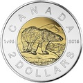 Канада 2 доллара 2016 Белый Медведь – 20 летие чеканки монеты (Canada 2C$ 2016 Polar Bear 20th anniversary of coinage).Арт.60