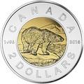 Канада 2 доллара 2016 Белый Медведь – 20 летие чеканки монеты (Canada 2C$ 2016 Polar Bear 20th anniversary of coinage).Арт.60