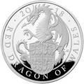 Великобритания 2 фунта 2018 Красный Дракон Уэльса серия Звери Королевы (GB 2£ 2018 Queen's Beast Dragon).Арт.60
