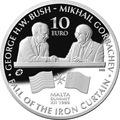 Мальта 10 евро 2015 Буш и Горбачев Саммит на Мальте Падение Железного Занавеса (Malta 10E 2015 M.Gorbachev & G.Bush Fall of the Iron Curtain).Арт.000427555554/60