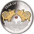 Фиджи 10 долларов 2019 Год Свиньи Лунный календарь Жемчужина (Fiji 10$ 2019 Lunar Pig Pearl).Арт.60