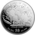 Самоа 5 долларов 2017 Полярный Климат серия Климатические Зоны Мира Пингвин Белый Медведь Заяц Морской Котик Кит Тюлень (Samoa 5$ 2017 Polar Zone Climate Zones of the World).Арт.60