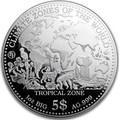 Самоа 5 долларов 2017 Тропический Климат серия Климатические Зоны Мира Лягушка Попугай Слон Крокодил Акула Леопард Обезьяна (Samoa 5$ 2017 Tropical Zone Climate Zones of the World).Арт.60