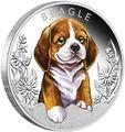 Тувалу 50 центов 2018 Бигль Щенки (Tuvalu 50 cents 2018 Puppies Beagle 1/2oz Silver).Арт.60
