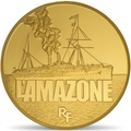 Франция 50 евро 2013 Корабль Амазонка серия Великие корабли Франции (France 50E 2013 Ship L`Amazone Gold).Арт.60