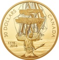 Канада 30 долларов 2018 Корабль Резолюшн (Canada 30$ 2018 HMS Resolution 2 oz Pure Silver Gold Plated).Арт.60