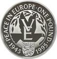 Олдерни 1 фунт 1995 Мир в Европе Вторая Мировая Война (Alderney 1 pound 1995 Peace in Europe).Арт.60