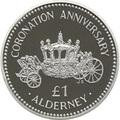 Олдерни 1 фунт 1993 Коронация Карета (Alderney 1 pound 1993 Coronation Silver Coin).Арт.60