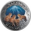 Канада 50 долларов 2018 Лисы Ночная Гроза Молния Природные Явления (Canada 50C$ 2018 Nature's Light Show Stormy Fox Night Glow-in-the-Dark Coin) Выпуклая форма.Арт.64