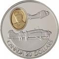 Канада 20 долларов 1990 Авро Энсон и Норт Американ Гарвард Роберт Леки Авиация (Canada 20$ 1990 Aviation Series Avro Anson and North American Harvard Robert Leckie 1oz Silver Coin).Арт.68