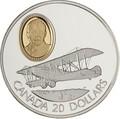 Канада 20 долларов 1992 Кертисс JN-4 Канук Сэр Франк В.Байли Авиация (Canada 20$ 1992 Aviation Series Curtiss JN-4 Canuck Sir Frank Wilton Baillie 1oz Silver Coin).Арт.68