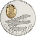 Канада 20 долларов 1992 Кертисс JN-4 Канук Сэр Франк В.Байли Авиация (Canada 20$ 1992 Aviation Series Curtiss JN-4 Canuck Sir Frank Wilton Baillie 1oz Silver Coin).Арт.68