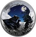 Канада 50 долларов 2018 Медведи Луна Природные Явления (Canada 50C$ 2018 Nature's Light Show Moonlit Tranquility Night Glow-in-the-Dark Coin) Выпуклая форма.Арт.69